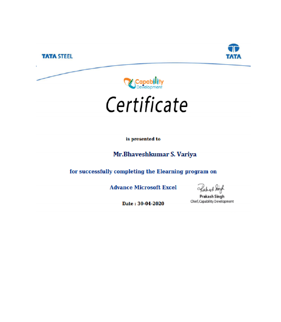 Staff Achievements Lect. Bhavesh Variya  successfully completed certified program on Advance Microsoft Excel