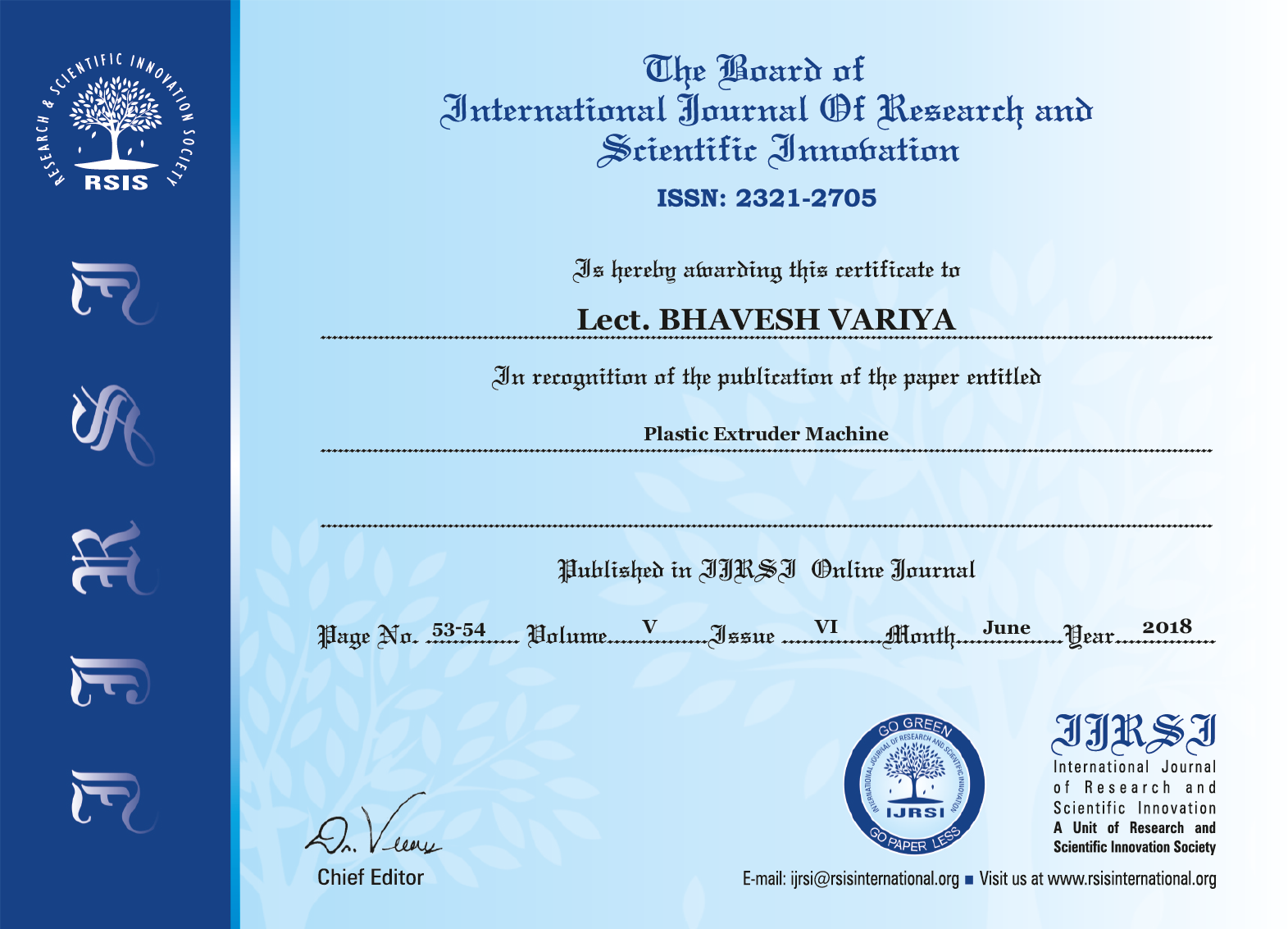 Staff Achievements Research Paper Published By Lect. Bhavesh Variya