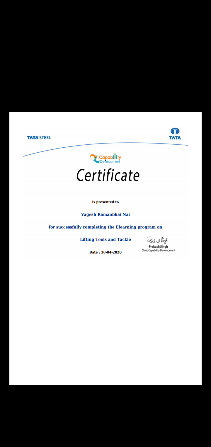 Staff Achievements  Lect. Vagesh Nai  successfully completed certified program on Lifting tool and tackle