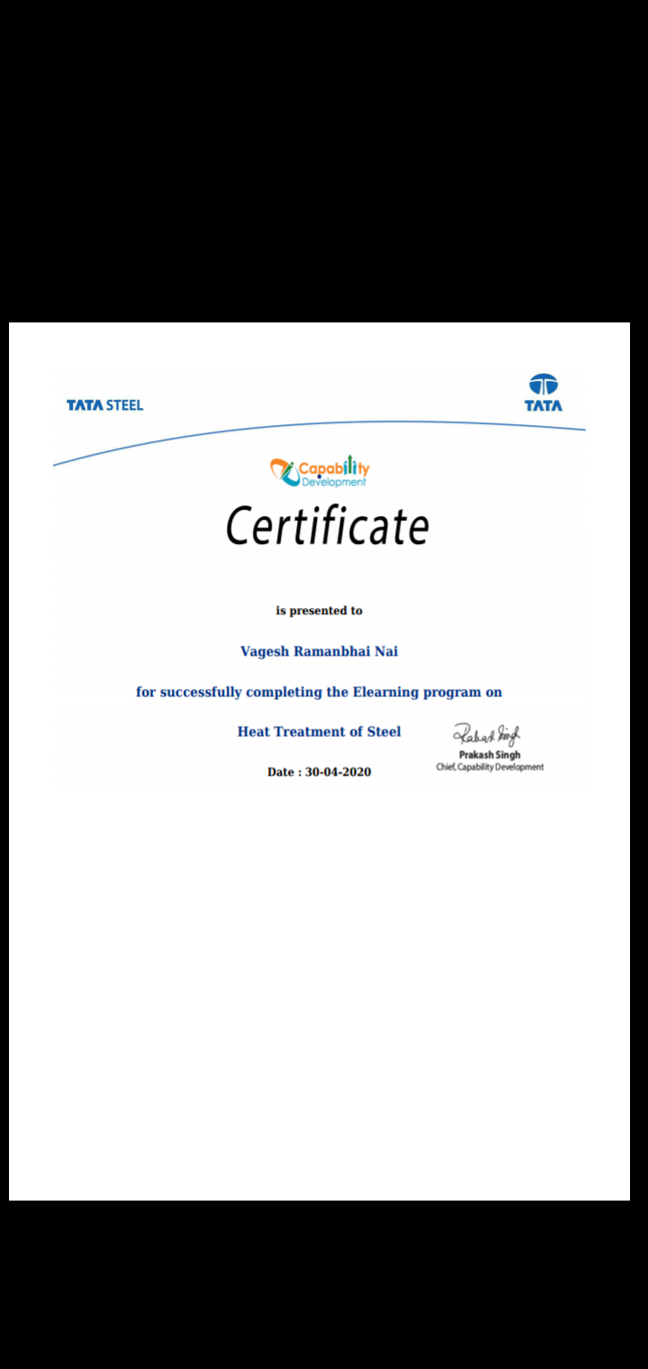 Staff Achievements Lect. Vagesh Nai successfully completed certified program on Heat Treatment of steel