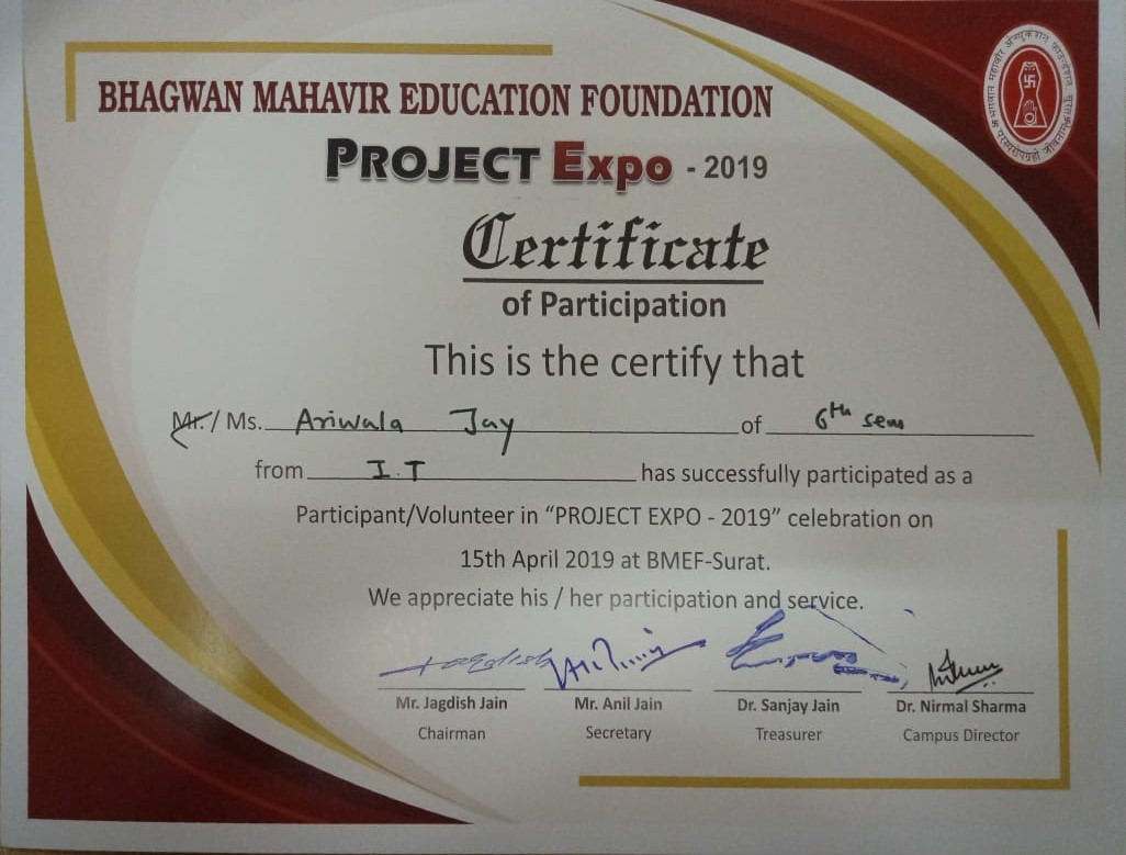 1st Rank in Project Fair 2019