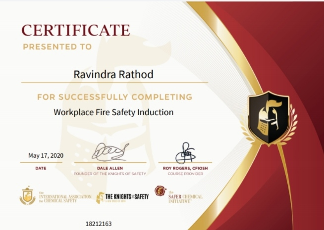 Achievements Lect. Ravindra  Rathod successfully completed certified program on Work Place Fire Safety Introduction