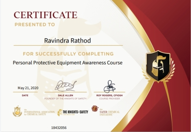 Achievements Lect. Ravindra  Rathod successfully completed certified program on Personal Protective Equipment Awareness Course