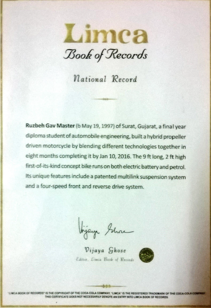 Established pattern in a hybrid vehicle and got limca book of record