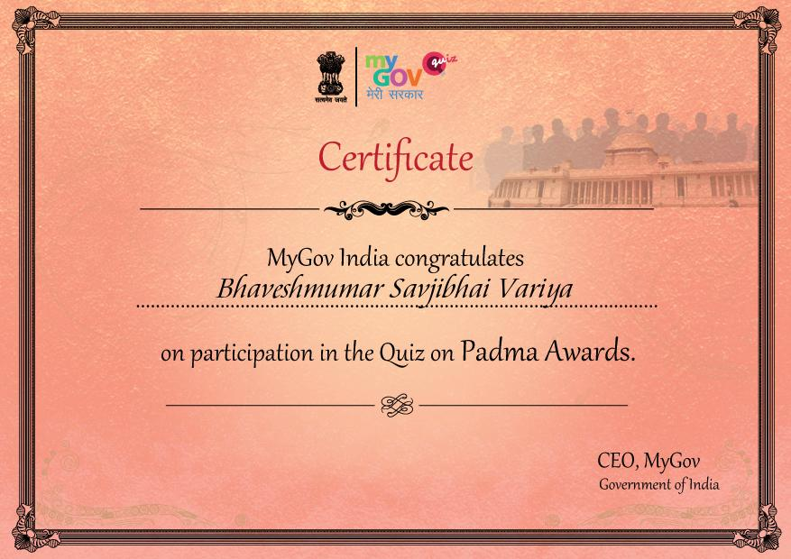 Participation in the Quiz on Padma Awards.