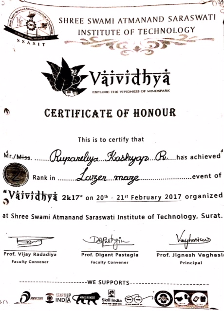 2nd Rank in Lazer Maze event of vaividhya 2k17 (SSASIT,Surat)